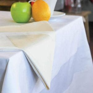 Satin Band 2 hems White Tablecloth