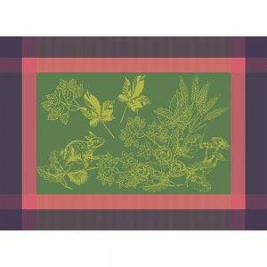 "Plaisirs D Automne Muscat Placemat 22""x16"", Green Sweet Stain-resistant Cotton"