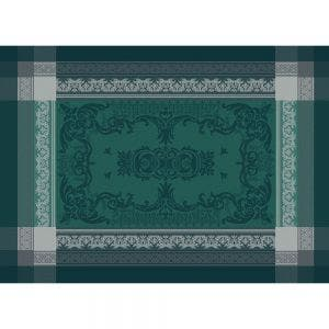 "Fontainebleau Vert Profond Placemat 21""x15"", Green Sweet Stain-resistant Cotton"