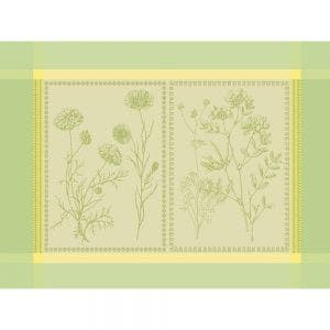 """Herbora Prairie Placemat 21""""x15"""", Green Sweet Stain-resistant Cotton"""
