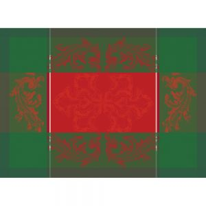 "Noel Baroque Rouge Placemat 22""x16"", Green Sweet Stain-resistant Cotton"