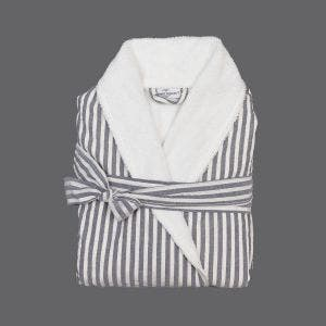 Stripes Grey and White Terry Robe