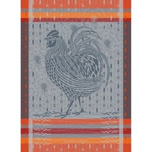 "Coq Design Orange Kitchen Towel 22""x30"", 100% Cotton"