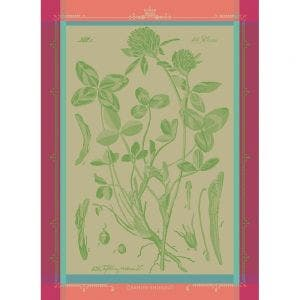"Fleurs de Trefle Chlorophylle Kitchen Towel 22""x30"", 100% Cotton"