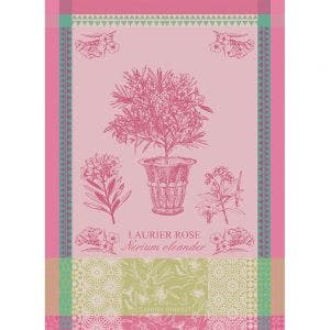 "Laurier En Pot Rose Kitchen Towel 22""x30"", 100% Cotton"