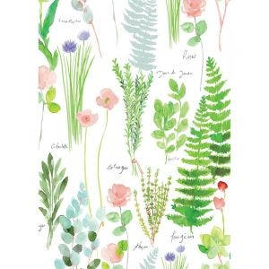 "Mille Herbier Printemps Kitchen Towel 20""x28"", 100% Cotton"