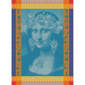 "Mona Lisa Bleu Kitchen Towel 22""x30"", 100% Cotton"