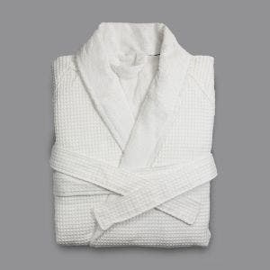Washington Waffle/Terry White Bath Robe, XLarge