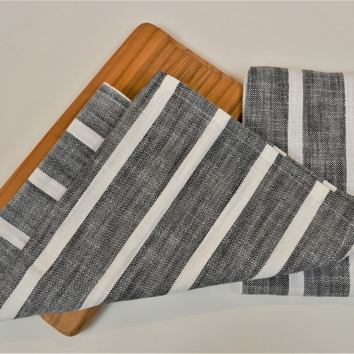 Dobby Stripe Black Set of 2 Kitchen Towels