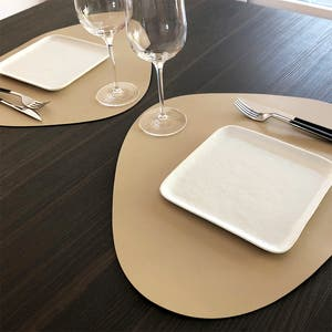 """Recycled Leather Beige Placemat, Oval 16.5x12.25"""""""