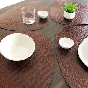 """Recycled Leather Brown Croco Placemat, Oval 16.5x12.25"""""""