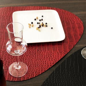 """Recycled Leather Bordeaux Croco Placemat, Cloud 17.25x14.25"""""""