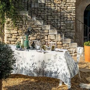 "Escapades Sepia Tablecloth 45""x45"", 100% Linen"