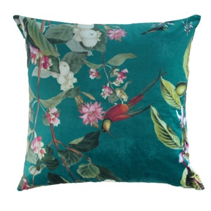 """Ete Indien Velours Vert Canard Cushion Cover 12""""x20"""", Polyester Image"""