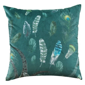 Feathers Velours Green Cushion Cover, Polyester