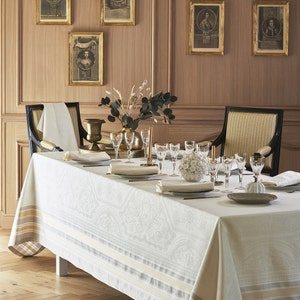Galerie Des Glaces Vermeil Jacquard Tablecloth, Stain Resistant Cotton