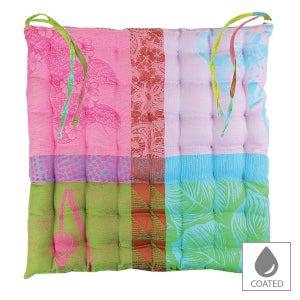 "Mille Gardenias Bourgeons Chair cushion 15""x15"", Coated Cotton"