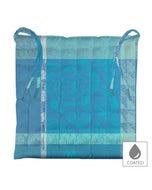 "Mille Gardenias Lagon Chair Cushion 15""x15"", Coated Cotton"