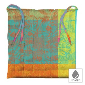 """Mille India Festival Chair Cushion 15""""x15"""", Coated Cotton"""