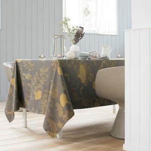 """Mille Feuilles Bronze Tablecloth 71""""x71"""", 100% Cotton"""