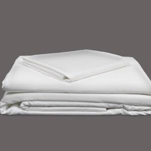 Georgetown Polycotton Sateen White Twin Sheet Set, 300 thread count