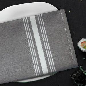 "Reverse Bistro Grey Chambrey Napkin 17""x22"", 100% Polyester, Set of 4"