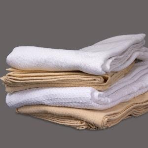Herringbone Queen White Blanket, 100% Cotton