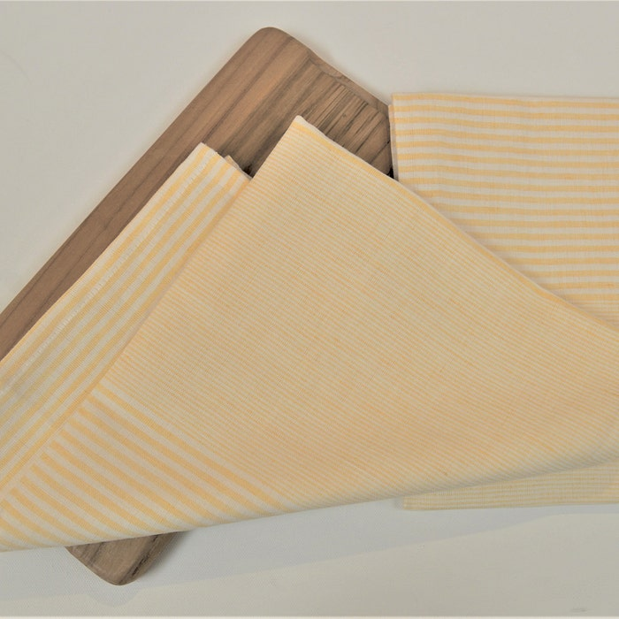 Horizontal Stripe Yellow Set of 2 Kitchen Towels, Cotton-linen blend