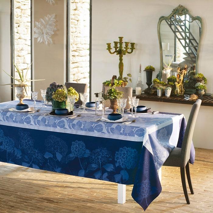 Hortensias Bleu Jacquard Tablecloth, Stain Resistant Organic Cotton