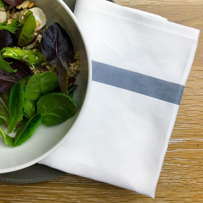 Bistro Natte White with Grey Stripes Napkin, 100% Cotton, Set of 4