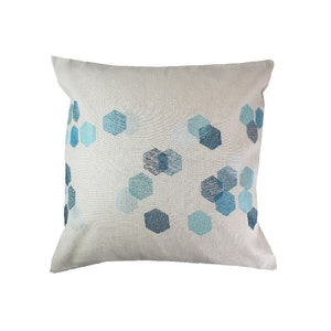 Hexagones Bleu Cushion Cover
