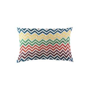 "Zig Zag Multicolore Cushion Cover 12""x20"", Cotton-linen blend"