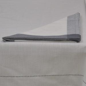 "Intramuri White/Grey Tablecloth 69""x69"", 100% Cotton"