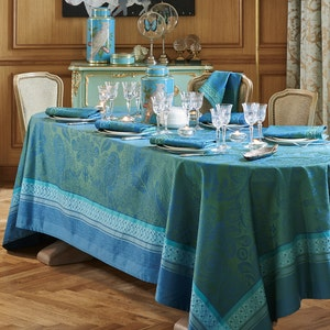 Isaphire Emeraude Jacquard Tablecloth, Stain Resistant Cotton