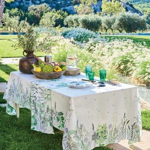 Jardin Aromatique Floraison Tablecloth, Cotton-linen blend