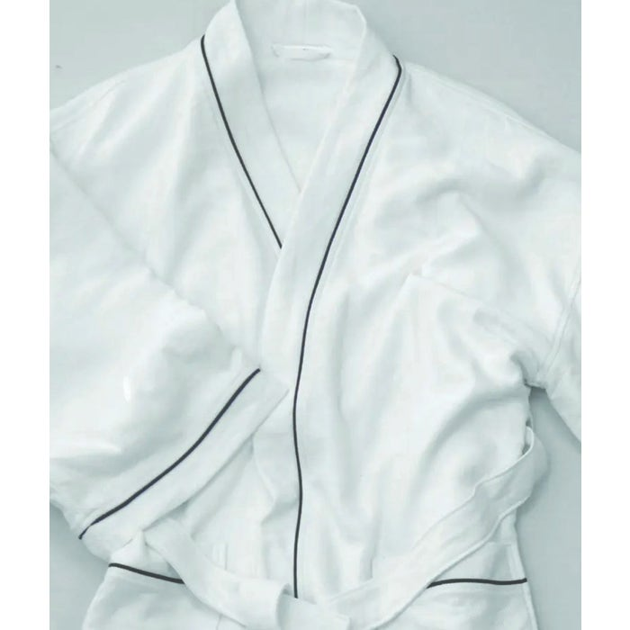 Lady White with black piping Bath Robe