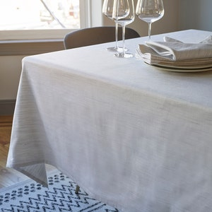 Madhu White Tablecloth, 100% Cotton in Melange