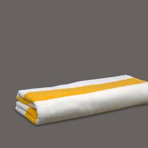 Maya White with Yellow Stripes Pool Towel