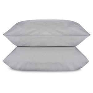Melange Plain Greige Queen Percale Pillowcases Set