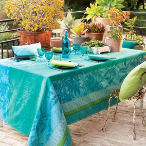 """Mille Alocasias Atoll Tablecloth 59""""x87"""", Coated Cotton"""