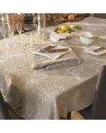 Mille Bloom Naturel Jacquard Tablecloth, Cotton-linen blend
