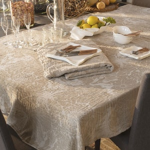 "Mille Bloom Naturel Tablecloth 63""x98"", Cotton-linen blend"
