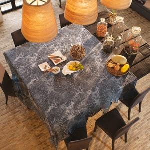 Mille Bloom Noir Jacquard Tablecloth, Cotton-linen blend