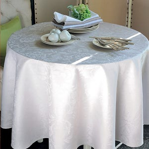 """Mille Charmes Blanc Tablecloth Round 69"""", Coated Cotton"""