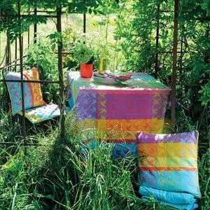 """Mille Colibris Antilles Tablecloth Round 71"""", 100% Cotton"""