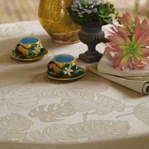 Mille Evergreen Ficelle Jacquard Tablecloth