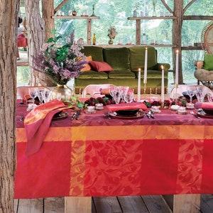 Mille Folk Cranberry Jacquard Tablecloth Image