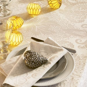 """Mille Isaphire Parchemin Tablecloth Round 71"""", 100% Cotton"""