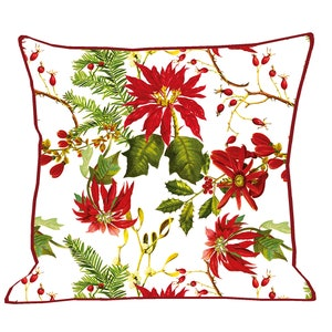 "Mille Poinsettias Blanc Cushion Cover 20""x20"" Image"