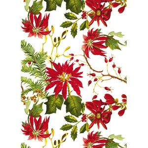 Mille Poinsettias Blanc Printed Kitchen Towel Image